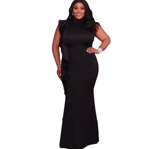 Sexy Frauen Kleid Plus Size Rüschen Seite Stehkragen Ärmelloses Bodycon Minikleid Oversize Party Clubwear Schwarz / Weiß