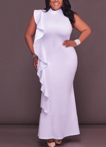 Sexy Women Dress Plus Size Ruffle Side Stand Collar Sleeveless Bodycon Mini Dress Oversize Party Clubwear Black/White