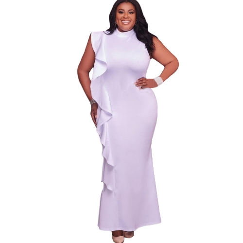 Vestido de las mujeres atractivas más el tamaño del volante del cuello del soporte sin mangas Bodycon Mini vestido de fiesta de gran tamaño Clubwear negro / blanco