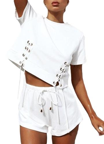 Las mujeres de moda con cordones recortaban la camiseta O cuello de manga corta Casual Loose Streetwear Top Tee negro / blanco