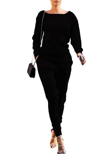 Mujeres de moda sudadera con capucha Pantalones largos de manga larga Casual Solid 2 piezas Set Sport trajes Streetwear