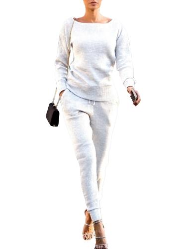 Модные женские спортивные костюмы Толстовка Длинные брюки с длинным рукавом Повседневный твердый 2 шт. Комплект Спортивные костюмы Streetwear