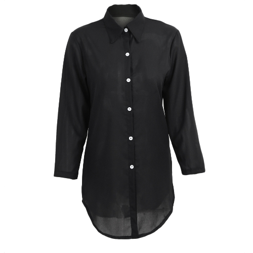 New Casual Women Solid Long Shirt Button Frente Turn-down Collar Long Sleeves Irregular Hem Shirt