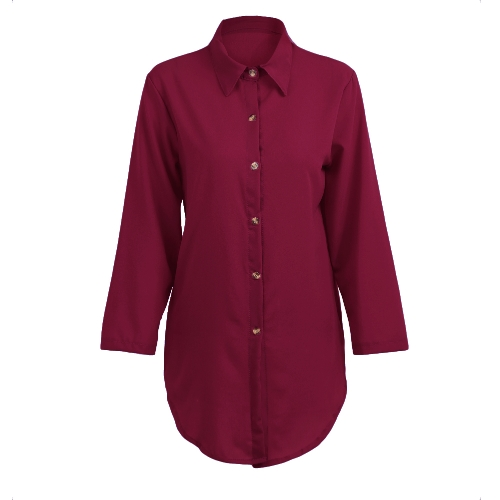 Las nuevas camisas de las mujeres ocasionales camisa de manga larga con cuello vuelto Las camisas de manga larga con las mangas irregulares