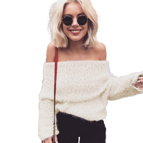 Damskie topy Faux Fur Fleece Solid Color Off Shoulder Slash Neck Z długim rękawem Sexy Party Wear Pullover