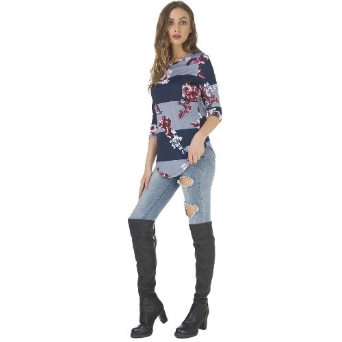 Jesień Damska koszulka z nadrukiem kwiatowym 3/4 rękawa Koszulka z dekoltem w serek Casualowa brązowa / niebieska / szara