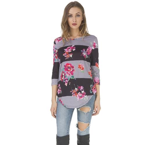 秋の女性のTシャツフラワープリント3/4袖のシャツO  - ネックカジュアルなティートップブラウン/ブルー/グレー