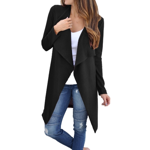 Mulheres Waffle Knitted Cardigan Coat Open Front Colar de baixa renda Bertha Loose Long Outwear