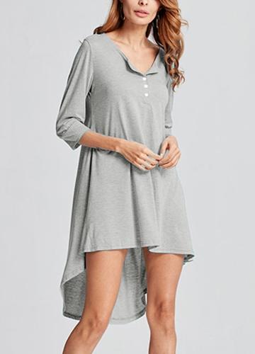 Модная женская длинная туника Top Basic T-Shirt Button Front O Neck Long Sleeve Irregular Hem Mini Dress фото