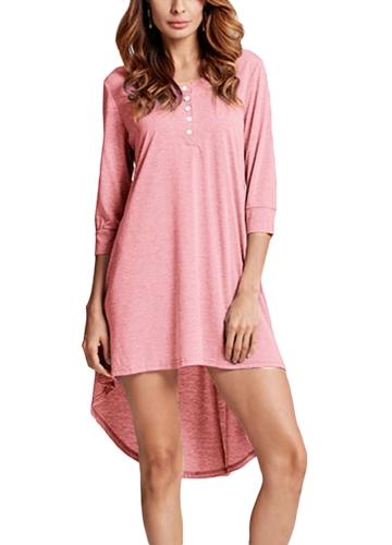Модная женская длинная туника Top Basic T-Shirt Button Front O Neck Long Sleeve Irregular Hem Mini Dress