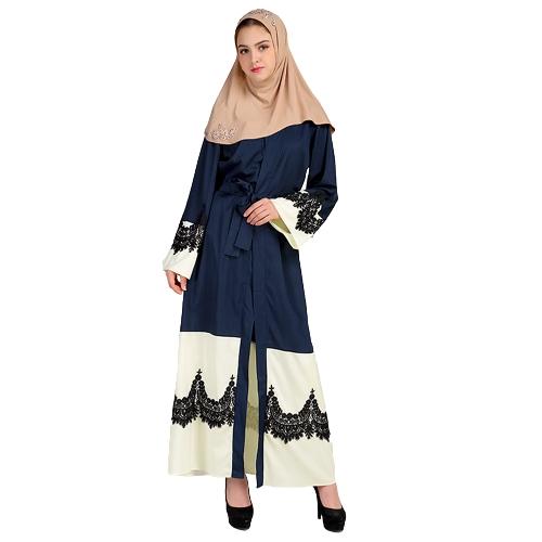 Frauen Plus Size Muslim Cardigan Crochet Spitze Spliced Open Front Lange Breite Hülse Maxi Kleid islamischen Kleid