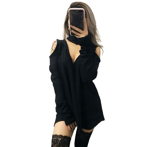 Kobiety z dzianiny długie szorty Solid V szyi Choker Off ramię z długim rękawem Casual Sexy Sweter Club Party Wear
