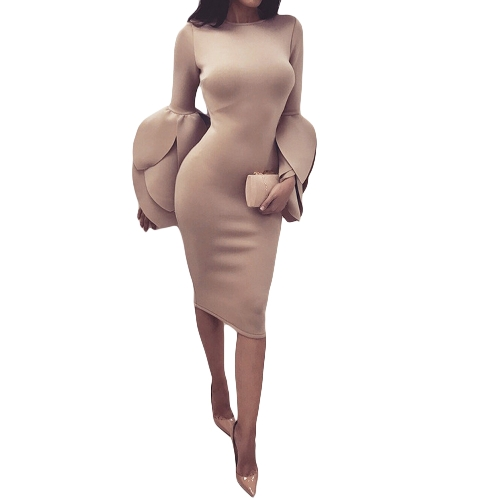 Vestido ajustado de las mujeres atractivas del o-cuello de la manga larga del pétalo de la cremallera delgados vestidos de noche del partido delgado