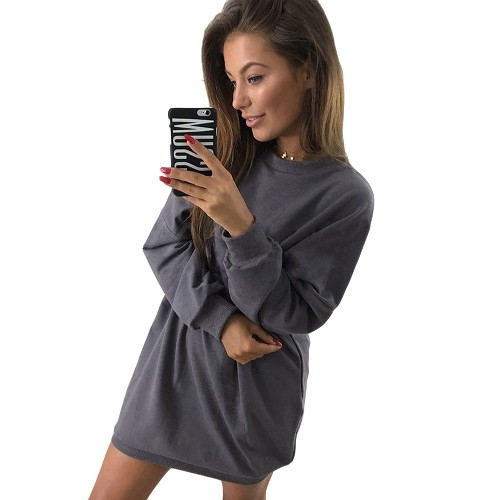 Nuevas mujeres sudadera manga larga O-cuello Sólido Casual suelta Top largo Pullover