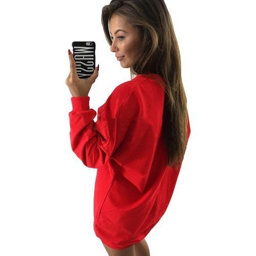 Neue Frauen Sweatshirt mit langen Ärmeln O-Ansatz feste beiläufige lose lange Top Pullover