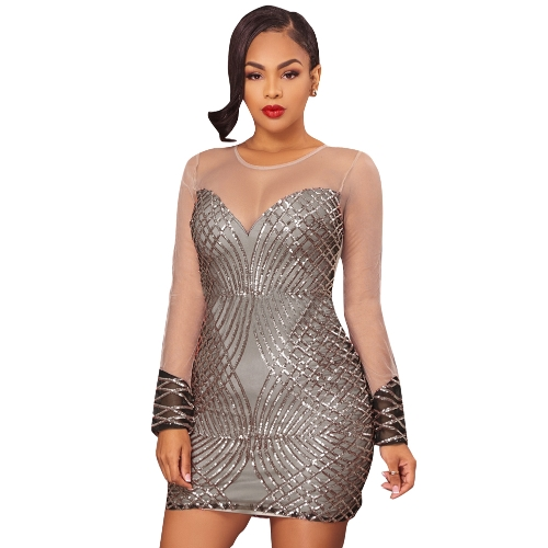 Mulheres Sheer Mesh Sequined Dress See Through Mangas compridas Bodycon Mini Party Dress