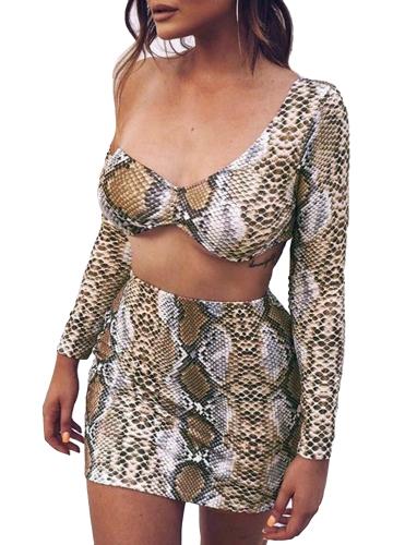 Conjunto de dos piezas de mujer sexy estampado de serpiente con cuello en V de manga larga con cuello en V manga larga, falda ajustada de cuerpo delgado, trajes de fiesta, clubwear de color caqui