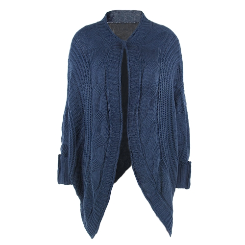 Mulheres Cardigan Outono Inverno Aberta Frente Tricô Sweater Loose Jacket Coat Outerwear Pink / Blue