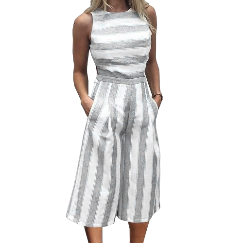 Mujeres Sexy Stripe Jumpsuit sin mangas con cremallera sin respaldo Shirred pierna ancha Playsuit Rompers azul / gris / caqui