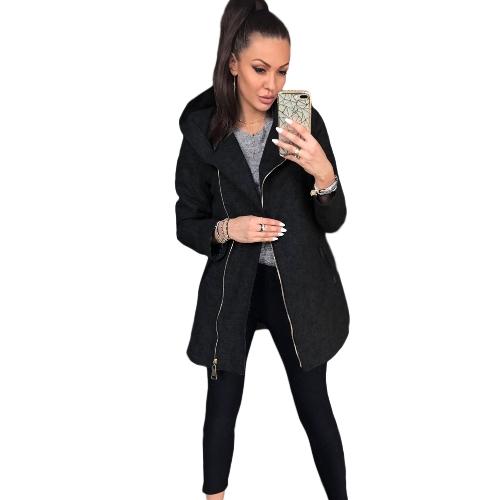 Women Casual Hoodie lange Sweatshirt Mantel Taschen Reißverschluss Oberbekleidung Kapuzenjacke schwarz / grau / rot