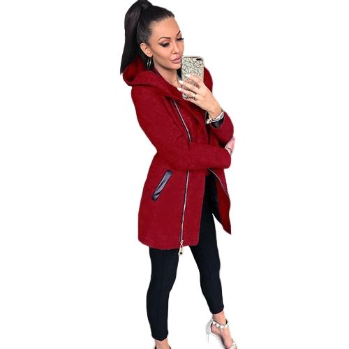 Sudadera con capucha para mujer Sudadera con capucha larga Sudadera con capucha y cremallera Sudadera con capucha negra / gris / roja