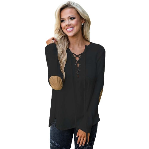 Camiseta con cuello en V para mujer de manga larga con cuello en V