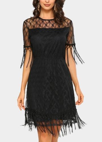 Mini vestido de las mujeres atractivas Sheer Lace Tassel O-cuello mangas cortas sólido elegante fiesta vestidos de noche negro