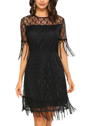 Sexy Women Mini Dress Sheer Lace Tassel O-Neck Short Sleeves Solid Elegant...