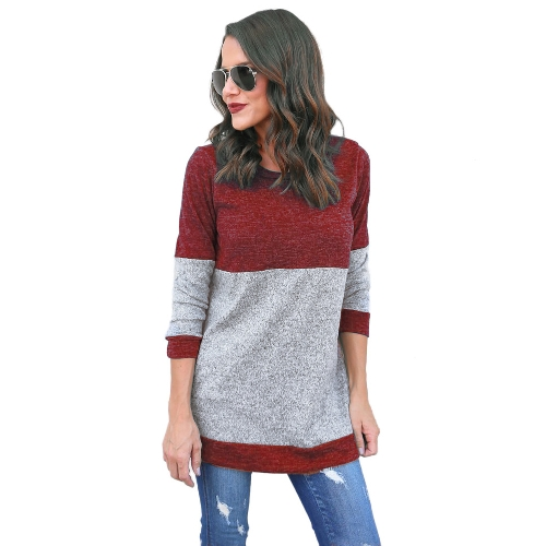 Women Autumn Loose Casual Top Long Sleeve O-Neck Patch T-Shirt Splice Pullover Top Burgundy