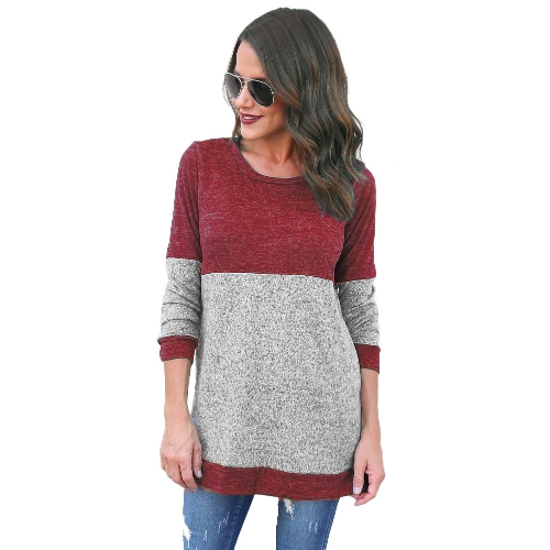 Mulheres Outono Loose Casual Top manga comprida O-Neck Patch T-Shirt Splice Pullover Top Borgonha
