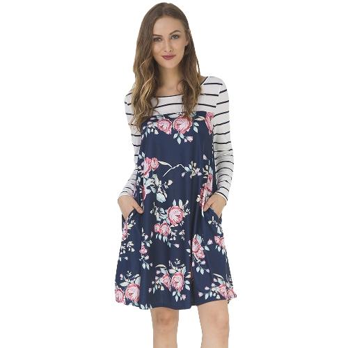 Women Autumn Floral Stripe Print Dress Long Sleeve Pockets Casual Loose T-Shirt Dress Midi Swing Dress