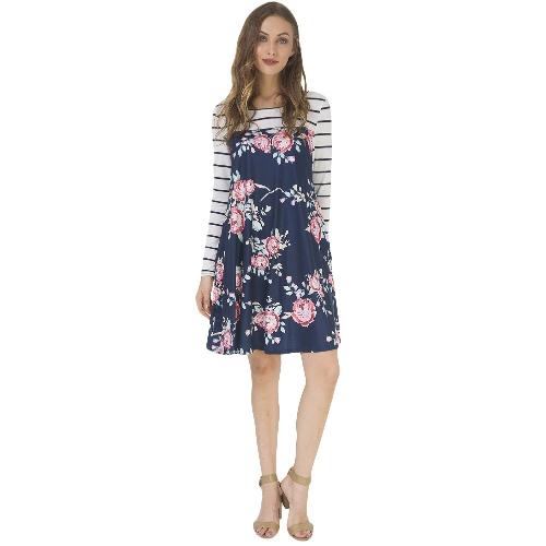 Mulheres Outono Floral Stripe Print Vestido Long Sleeve Pockets Casual Loose T-Shirt Vestido Midi Swing Dress