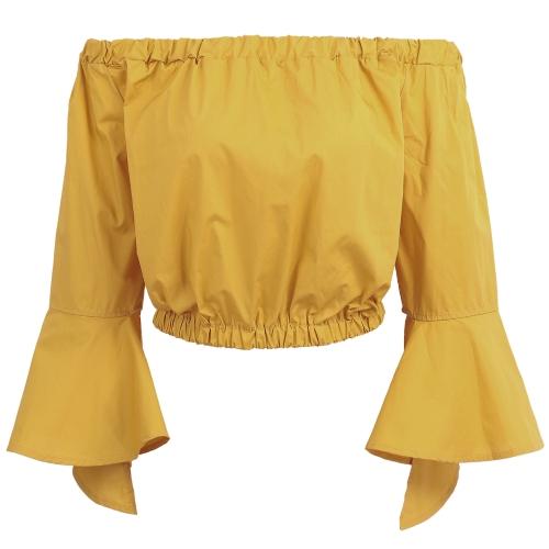 Las mujeres del hombro blusa de cultivos volantes campana manga larga elástico raya cuello Casual Tops camisas amarillo