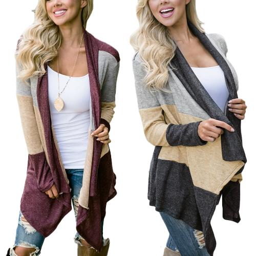 Frauen-beiläufige Strickjacke-Mantel-offene vordere Splicing-Farbe drapieren den Kragen Bertha lose lange Outwear