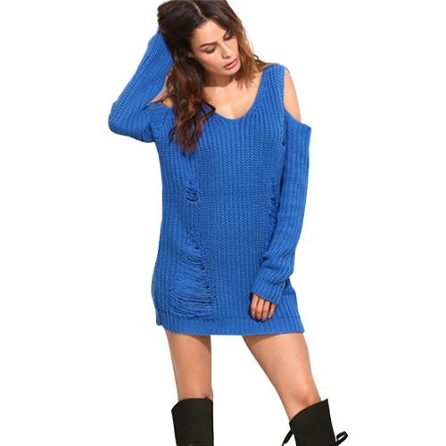 Damski luźny dzianinowy sweter zimny ramiona Zniszczone otwory dekolt w serek z długim rękawem Ciepły sweter Topy Dzianinowy