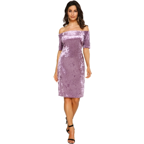 Sexy Women Velvet Dress Off Shoulder Slash Neck Party Night Club Bodycon Bainha Elegant Dress Purple