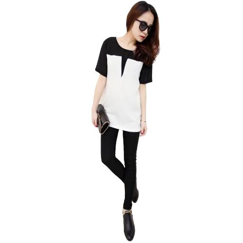 Camiseta de mujer con cuello en ochenta y parche Camiseta de manga corta con cuello redondo informal con cuello en uva negra / beige