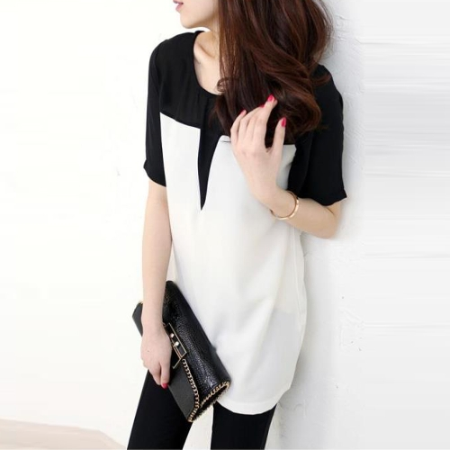 Women T-Shirt O-Neck Patch Tee Top Short Sleeve Casual Loose Pullover Top Black/Beige фото