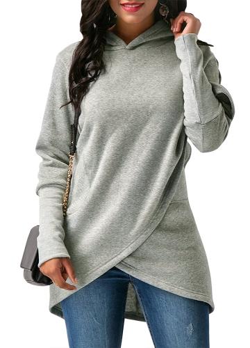 Sudaderas con capucha de las mujeres de la manera Sudaderas con capucha de manga larga asimétrico ocasional flojo irregular con capucha Tops gris claro / gris oscuro / azul