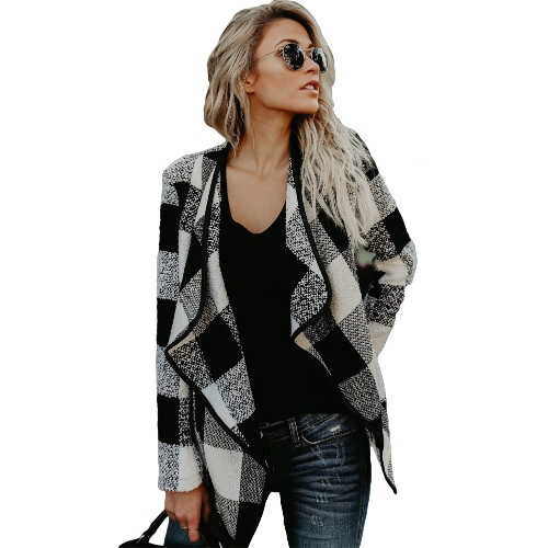 Mode Frauen Langarm Plaid Strickjacke Reverskragen Casual Unregelmäßige Jacke Blazer Outwear