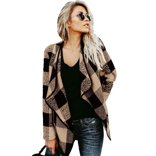 Las mujeres de moda de manga larga a cuadros cardigan cuello de solapa Casual chaqueta irregular Blazer Coat Outwear