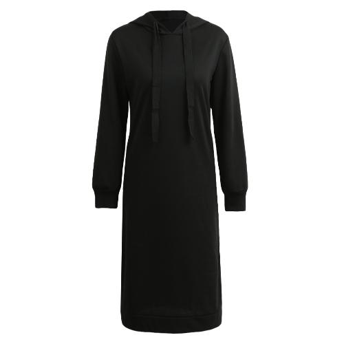 Kobiety długie bluzy z kapturem dorywczo odzież z długim rękawem Split luźne swetry z kapturem