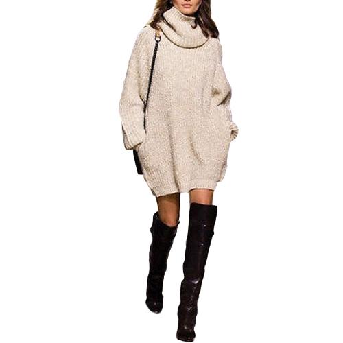 New Autumn Winter Women Warm Oversize Turtleneck Sweater Bolsos de manga comprida Casual Rib Tricotado Jumper Mini Dress