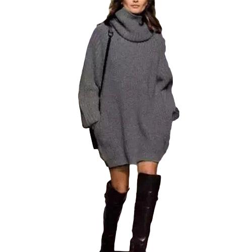 Nuevo Otoño Invierno Mujeres Cálido Oversize Suéter de Cuello Alto de manga larga bolsillos Casual Rib Knitted Jumper Mini vestido