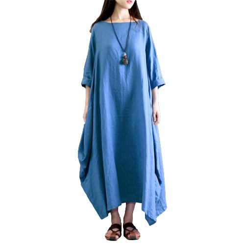 Las mujeres étnicas se visten de algodón sólido de bolsillo cuello redondo manga 3/4 flojo holgado vintage Maxi bata robe de una sola pieza