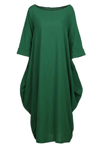 Этнические женщины одеваются Твердые хлопчатобумажные карманные круглые шеи 3/4 рукава Свободно Baggy Vintage Maxi Gown Robe One-Piece фото