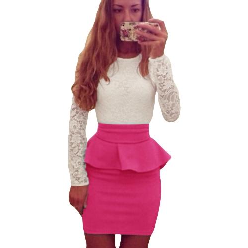 Vendaje de las mujeres atractivas Bodycon Dress Empalme de encaje Peplum Cintura cuello redondo manga larga fiesta Mini vestido Clubwear