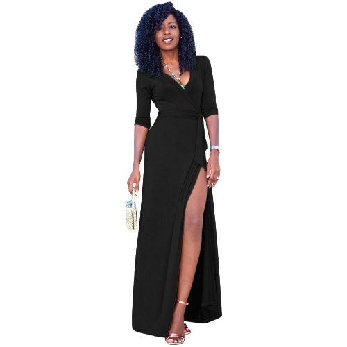 Sexy Women Maxi Dress Deep V Neck Side Split Três quartos de manga sólida Slim Elegant Belted Long Dress