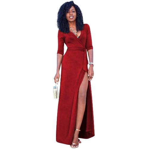 Vestido largo de las mujeres atractivas cuello en V profundo dividir el vestido largo de tres cuartos sólido delgado elegante con cinturón