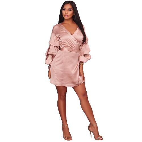 Vestido de satén para mujer Vestido de fiesta con cuello en V cruzado Vestido de fiesta con cinturón de seda rosa